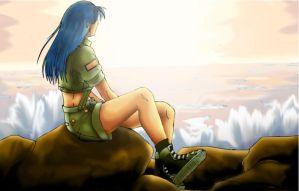 Leona looking at the sea by leonaheidern