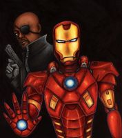 Nick Fury and Iron Man by HollyTheTerrible