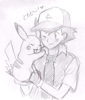 Satoshi and Pikachu Doodle by PacificPikachu