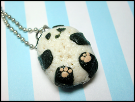 Panda Onigiri Necklace by GrandmaThunderpants