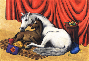 Horses in tent - colored by Storm-Engineer