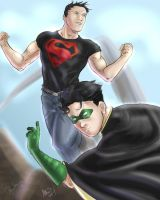 Superboy and Robin by lenneth