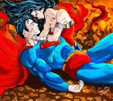 Superman With Wonderwoman by Sersiso