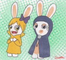 Lilly and sky (rabbids version) by Sweetiecaramel