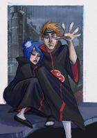 Pain and Konan by Fukari