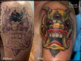 Tibetian mask tattoo (cover up) by ellegottzi