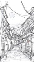 japanese alley sketch by ushio18