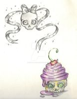 Skull and cupcake for tattoo design by Mymy-La-Patate