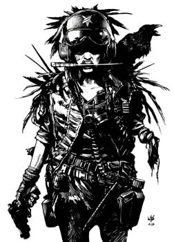 Post apocalyptic one armed woman by bumhand