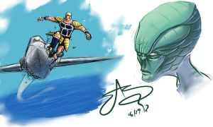 Saiyans and Aliens by SHARK-E