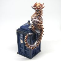 Tallie - Steampunk dragon on a TARDIS by Akalewia