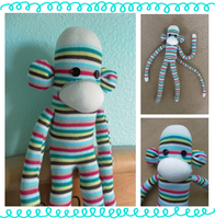 Striped Sock Monkey by Mushiboo