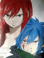Erza and Jellal colored (Fairy Tail) by charuito