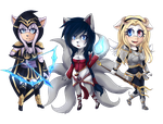 C: Ashe, Ahri and Lux by TamaratheT