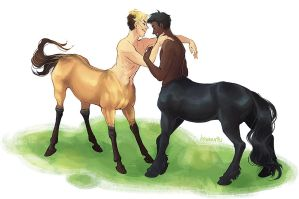 commission - gay centaurs by hawberries