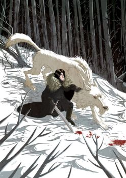 Jon Snow and Ghost by Douglasbot