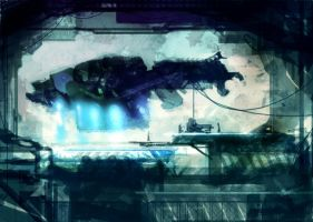 Speed painted sci-fi dock by torvenius