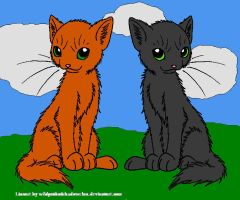 Firestar and Graystripe front by DemonicVampyreWolf