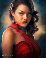 Emma Stone in red by artoclassic