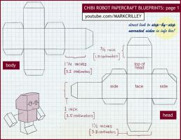 Chibi Robot Papercraft Blue Print 1 by markcrilley