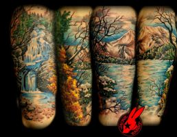 Nature Leg Sleeve Tattoo by Jackie Rabbit by jackierabbit12