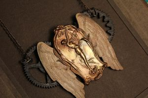 Art Nouveau Steampunk Necklace by asunder