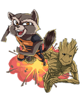 Rocket and Groot Contest Entry by Itabia