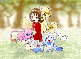 Ashley and her 3 digimon by Riza23