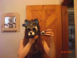 me and my wolf mask (front view) by Stormdeathstar9