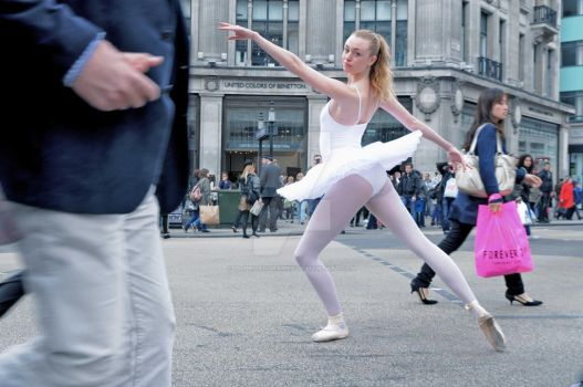 2. Street Ballerina - Oxford Circus by idjphotography
