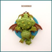Fantasy Dragon Charm - CLAY sculpture by buzhandmade