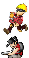 Chibi RED Engie and RED Scout by Chazia
