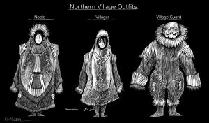 Northern villager costume concepts by Esaurus