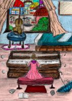 Little Girl Playing Piano on A Rainy Day by LauraHaro1994