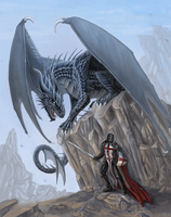 Dragon and Templar Commission by x-Celebril-x