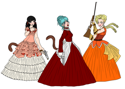Steampunk Ladies by ImAHungryNacho