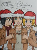 Comm: Attack on Titan Christmas Card by LadyNin-Chan