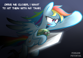 Rainbow Dash Riding a Sword by Penguin-Potential