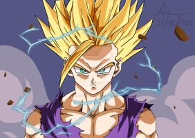 Teen Gohan Ssj 2 ( Digital Art ) by Robert-Marten