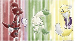 The Digimon Tamers' starters by Eledora