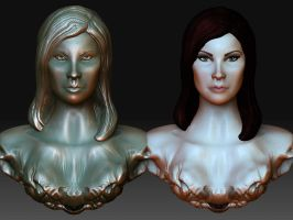 Female Bust: Before and After by Verde13