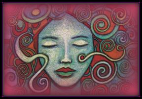 oldpaintingrevisited closed eyes pink digital by santosam81