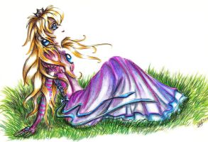 Peach in the grass by CarlyPandy