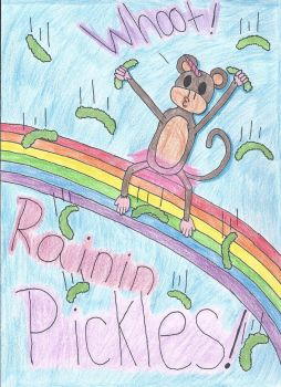 Monkey On A Rainbow In A Tutu Eating Pickles by sonic4465