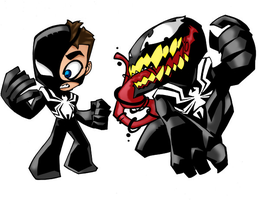 symbiote spider man and venom by XxXDASXxX
