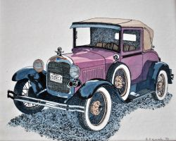 1929 Model A Cabriola {front 3/4 view} by Arkinman