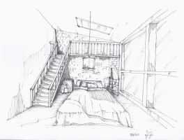 bedroom free hand drawing by supperjungnoi