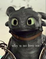 Toothless not feeling the love by Draco884