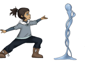 Little Korra Waterbending by LoopyKitty