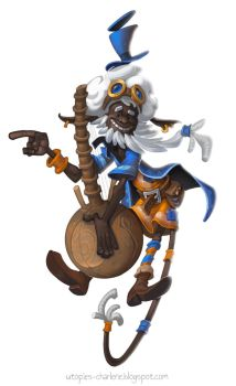 Afro Steampunk Kora Player by Catell-Ruz